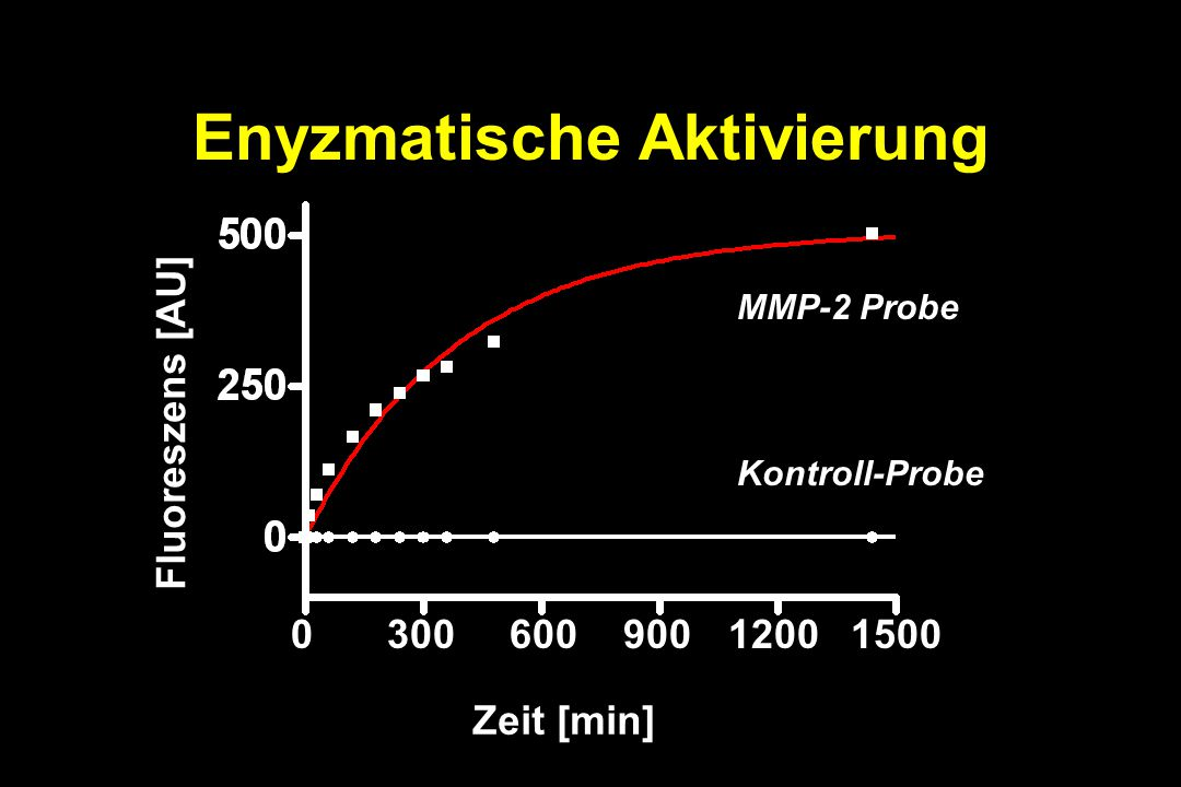 Enyzmatische Aktivierung 030060090015001200 Zeit [min] MMP-2 Probe Kontroll-Probe Fluoreszens [AU]