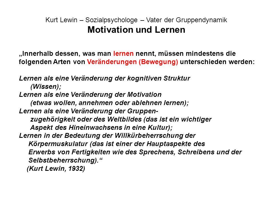 Kurt Lewin – Sozialpsychologe – Vater der Gruppendynamik Motivation und Lernen Innerhalb dessen, was man lernen nennt, müssen mindestens die folgenden