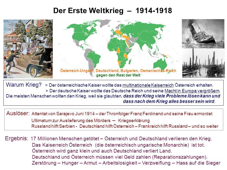 Österreich-Ungarn, Deutschland, Bulgarien, Osmanisches-Reich gegen den Rest der Welt Der Erste Weltkrieg – 1914-1918 Warum Krieg? > Der österreichisch