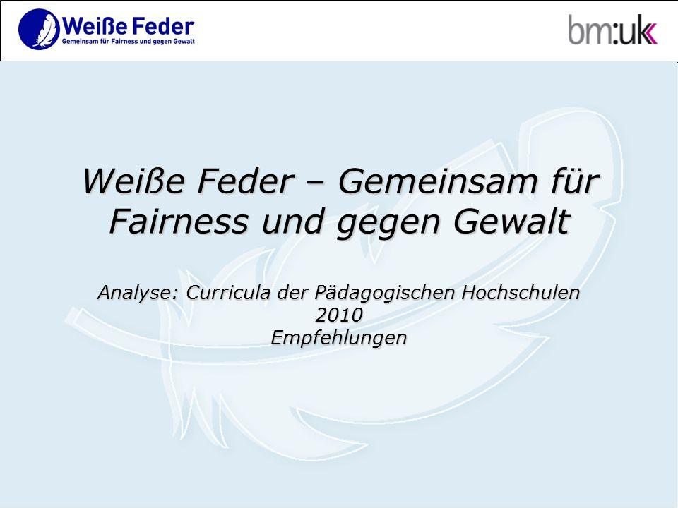 Weiße Feder – Gemeinsam für Fairness und gegen Gewalt Analyse: Curricula der Pädagogischen Hochschulen 2010 Empfehlungen