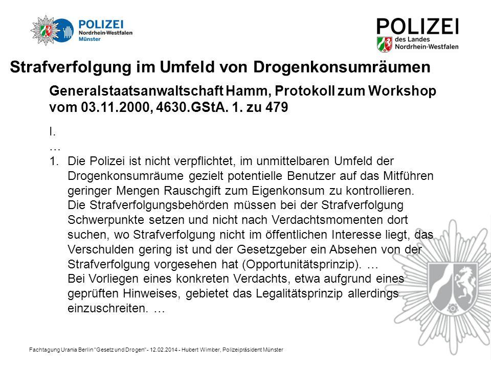 Fachtagung Urania Berlin Gesetz und Drogen - 12.02.2014 - Hubert Wimber, Polizeipräsident Münster Strafverfolgung im Umfeld von Drogenkonsumräumen I.