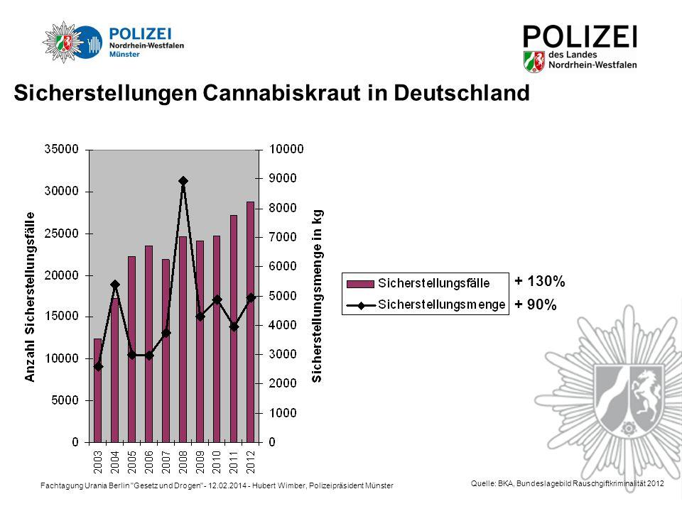 Fachtagung Urania Berlin Gesetz und Drogen - 12.02.2014 - Hubert Wimber, Polizeipräsident Münster + 130% + 90% Quelle: BKA, Bundeslagebild Rauschgiftkriminalität 2012 Sicherstellungen Cannabiskraut in Deutschland