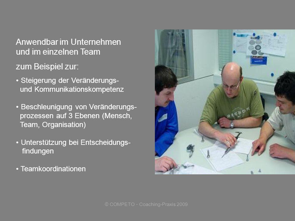 © COMPETO - Coaching-Praxis 2009 zum Beispiel zur: Steigerung der Veränderungs- und Kommunikationskompetenz Beschleunigung von Veränderungs- prozessen auf 3 Ebenen (Mensch, Team, Organisation) Unterstützung bei Entscheidungs- findungen Teamkoordinationen Anwendbar im Unternehmen und im einzelnen Team