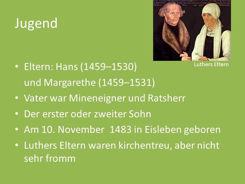 Jugend Eltern: Hans (1459–1530) und Margarethe (1459–1531) Vater war Mineneigner und Ratsherr Der erster oder zweiter Sohn Am 10. November 1483 in Eis