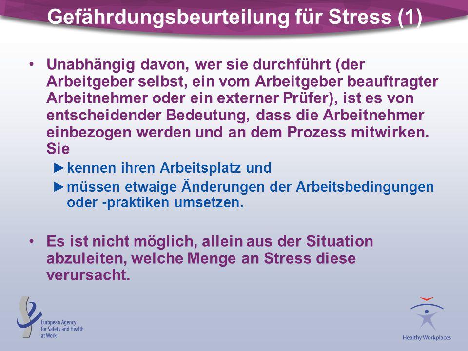 Gefährdungsbeurteilung für Stress (1) Unabhängig davon, wer sie durchführt (der Arbeitgeber selbst, ein vom Arbeitgeber beauftragter Arbeitnehmer oder