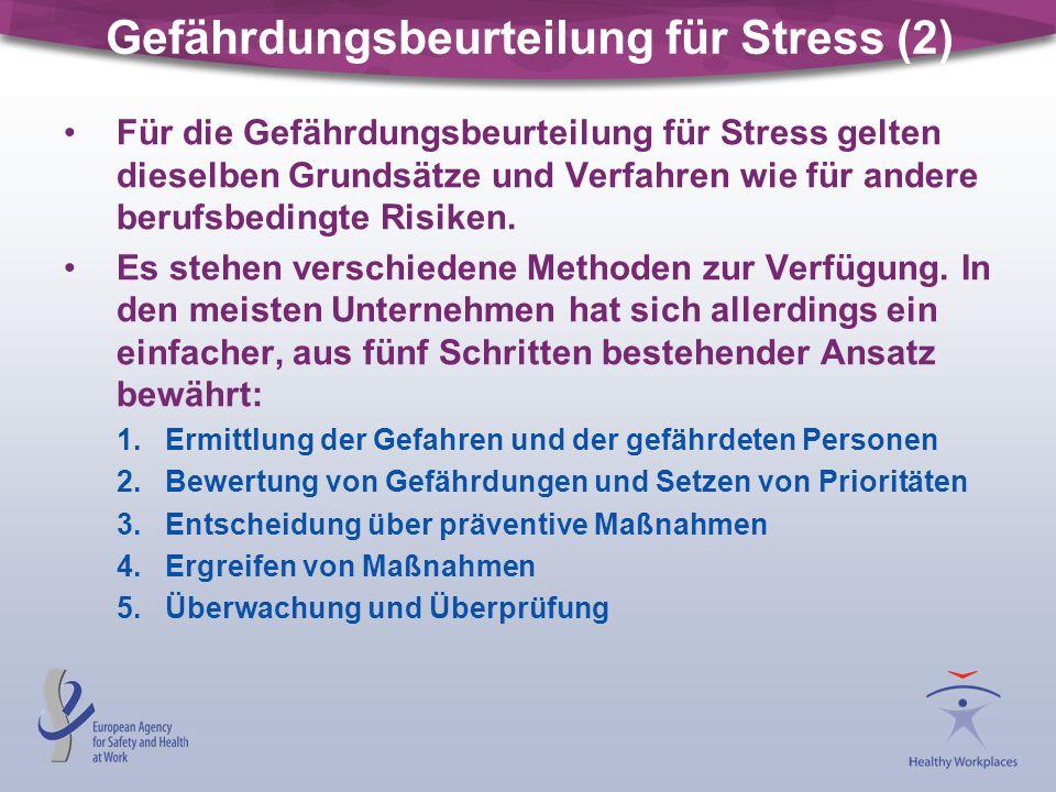Gefährdungsbeurteilung für Stress (2) Für die Gefährdungsbeurteilung für Stress gelten dieselben Grundsätze und Verfahren wie für andere berufsbedingt
