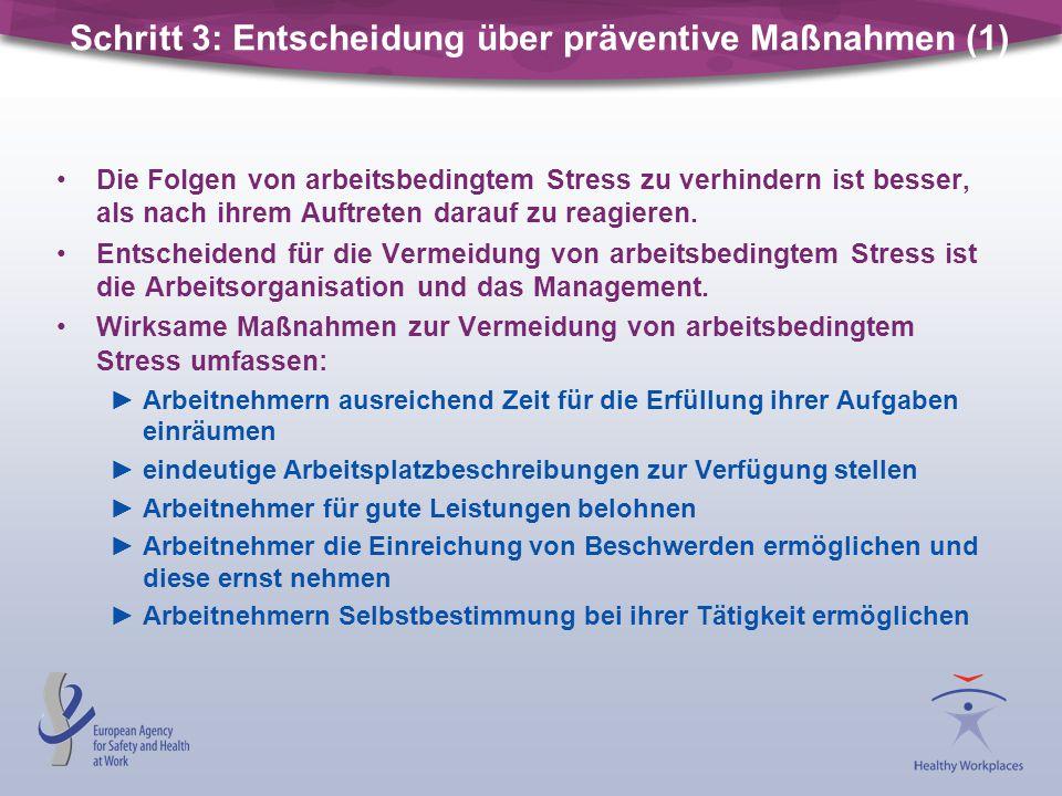 Schritt 3: Entscheidung über präventive Maßnahmen (1) Die Folgen von arbeitsbedingtem Stress zu verhindern ist besser, als nach ihrem Auftreten darauf