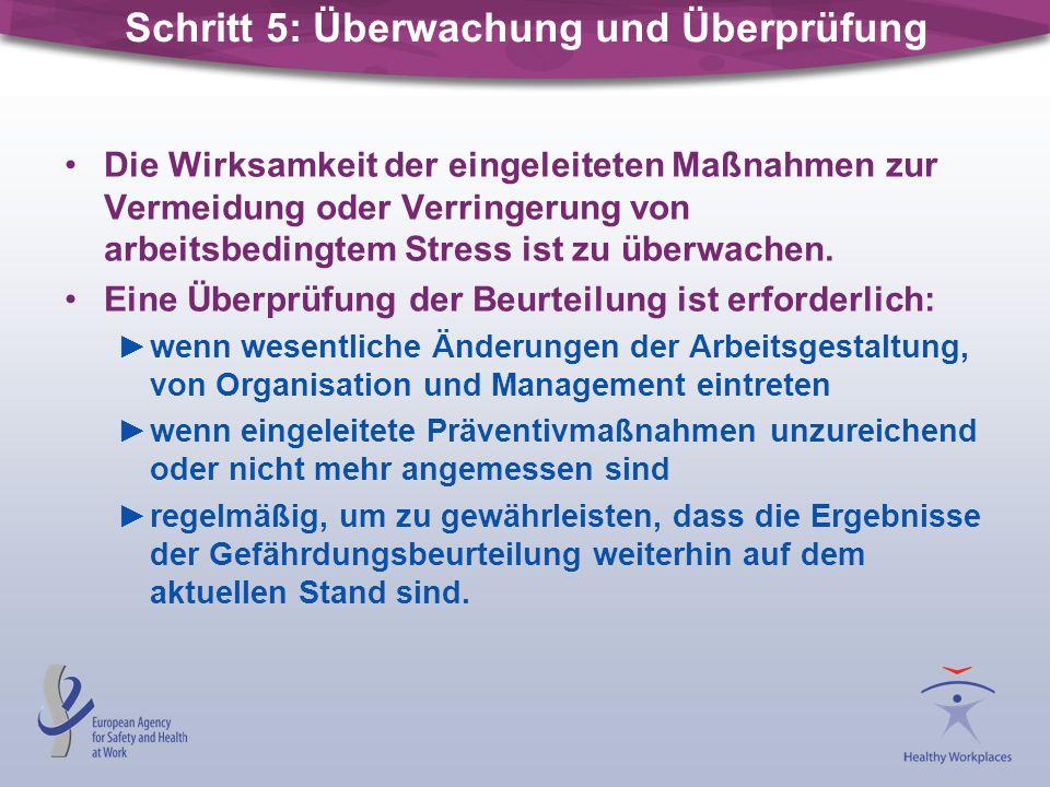 Schritt 5: Überwachung und Überprüfung Die Wirksamkeit der eingeleiteten Maßnahmen zur Vermeidung oder Verringerung von arbeitsbedingtem Stress ist zu