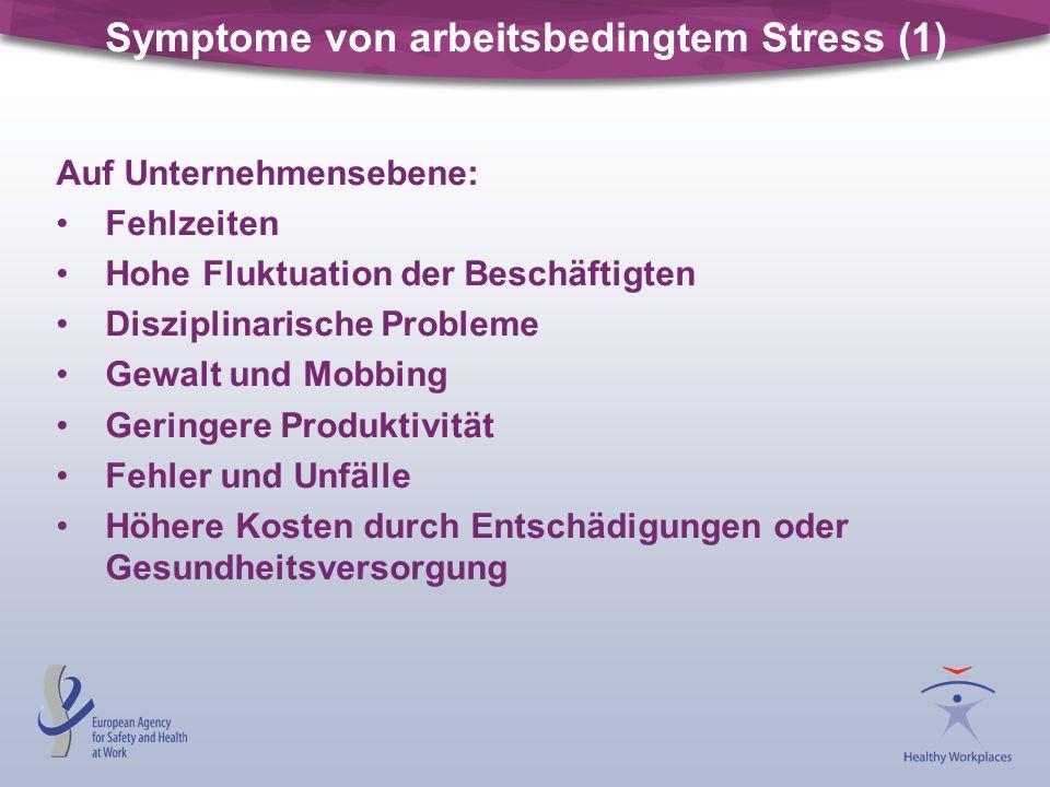 Symptome von arbeitsbedingtem Stress (1) Auf Unternehmensebene: Fehlzeiten Hohe Fluktuation der Beschäftigten Disziplinarische Probleme Gewalt und Mob