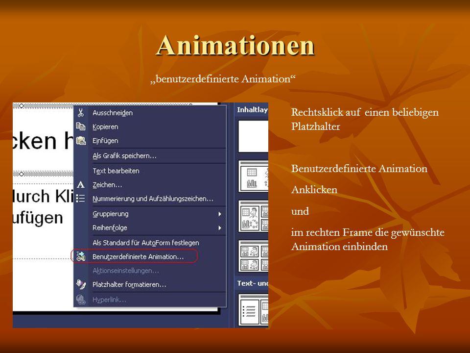 Animationen benutzerdefinierte Animation Rechtsklick auf einen beliebigen Platzhalter Benutzerdefinierte Animation Anklicken und im rechten Frame die