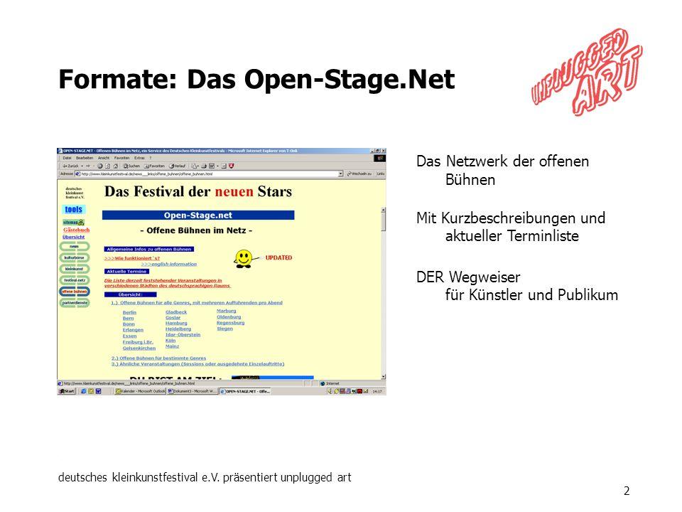 deutsches kleinkunstfestival e.V. präsentiert unplugged art 2 Formate: Das Open-Stage.Net Das Netzwerk der offenen Bühnen Mit Kurzbeschreibungen und a