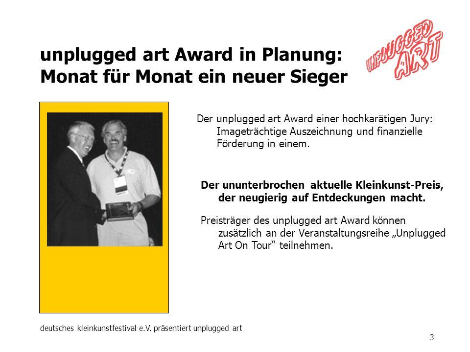 deutsches kleinkunstfestival e.V. präsentiert unplugged art 3 unplugged art Award in Planung: Monat für Monat ein neuer Sieger Der ununterbrochen aktu