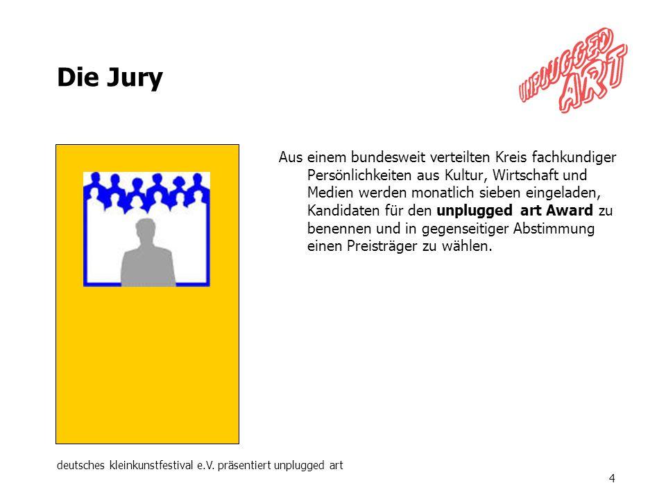 deutsches kleinkunstfestival e.V. präsentiert unplugged art 4 Die Jury Aus einem bundesweit verteilten Kreis fachkundiger Persönlichkeiten aus Kultur,