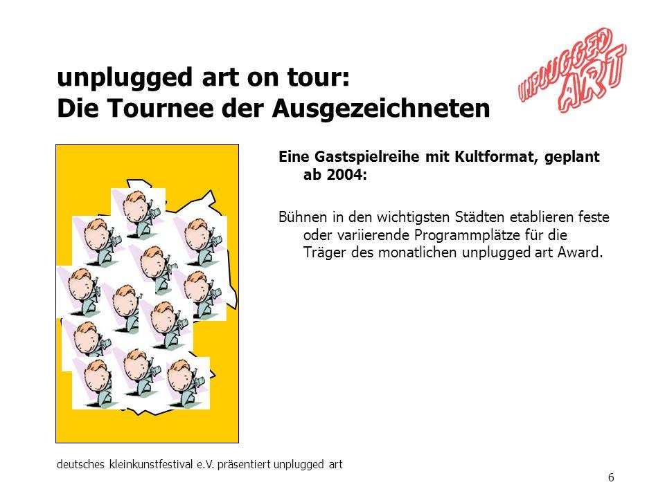 deutsches kleinkunstfestival e.V. präsentiert unplugged art 6 unplugged art on tour: Die Tournee der Ausgezeichneten Eine Gastspielreihe mit Kultforma