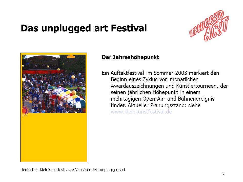 deutsches kleinkunstfestival e.V. präsentiert unplugged art 7 Das unplugged art Festival Der Jahreshöhepunkt Ein Auftaktfestival im Sommer 2003 markie