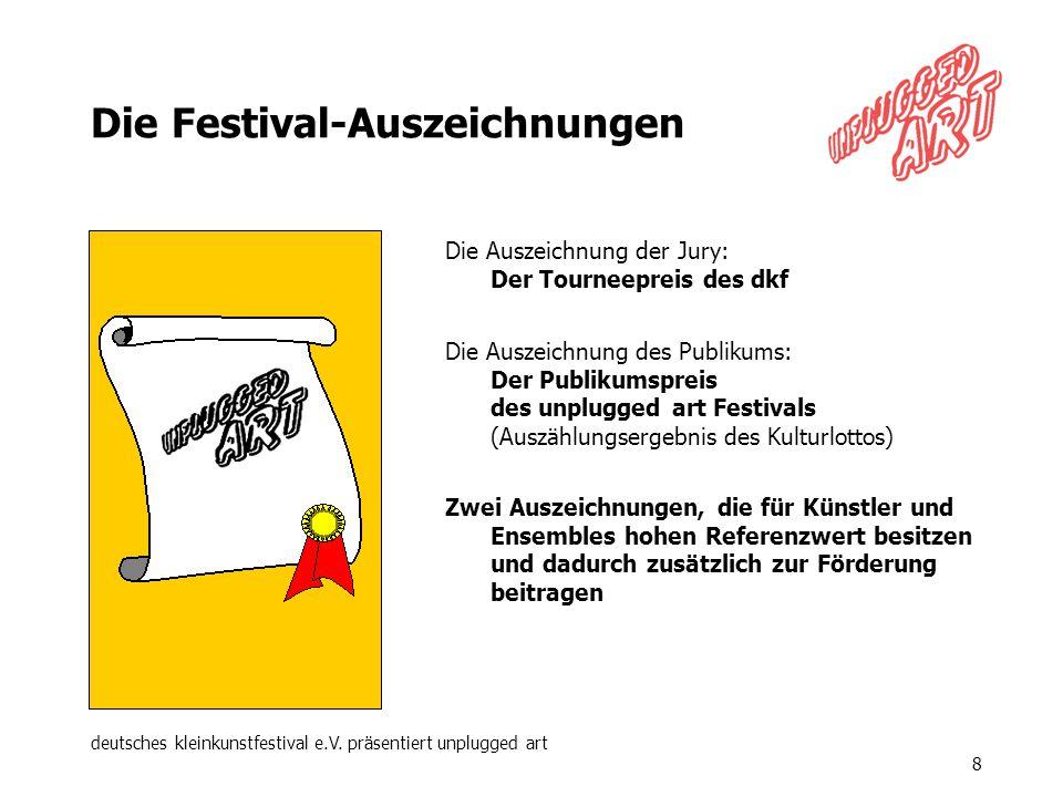 deutsches kleinkunstfestival e.V. präsentiert unplugged art 8 Die Festival-Auszeichnungen Die Auszeichnung der Jury: Der Tourneepreis des dkf Die Ausz
