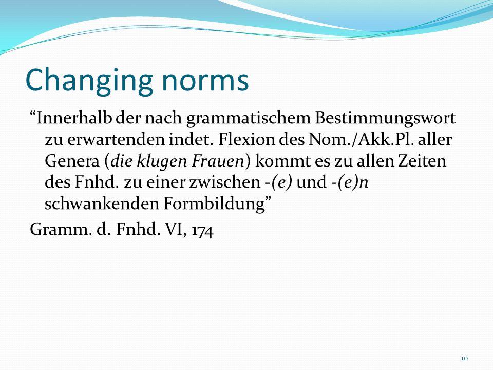 10 Changing norms Innerhalb der nach grammatischem Bestimmungswort zu erwartenden indet.