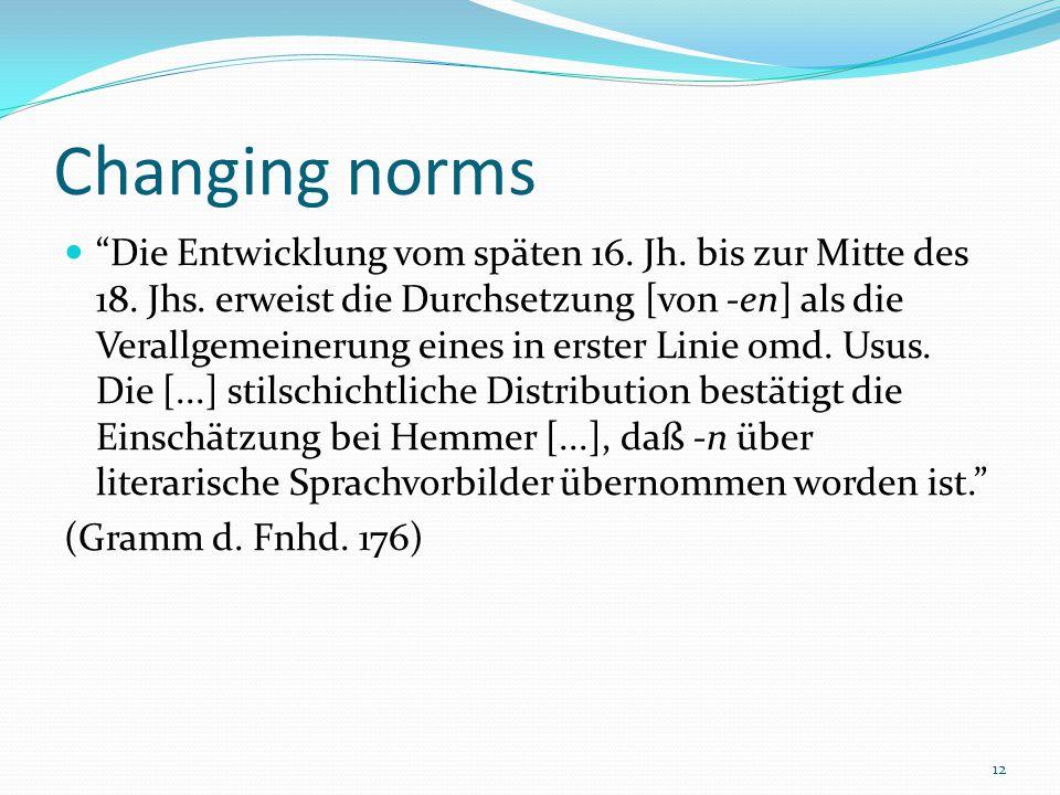 12 Changing norms Die Entwicklung vom späten 16. Jh.