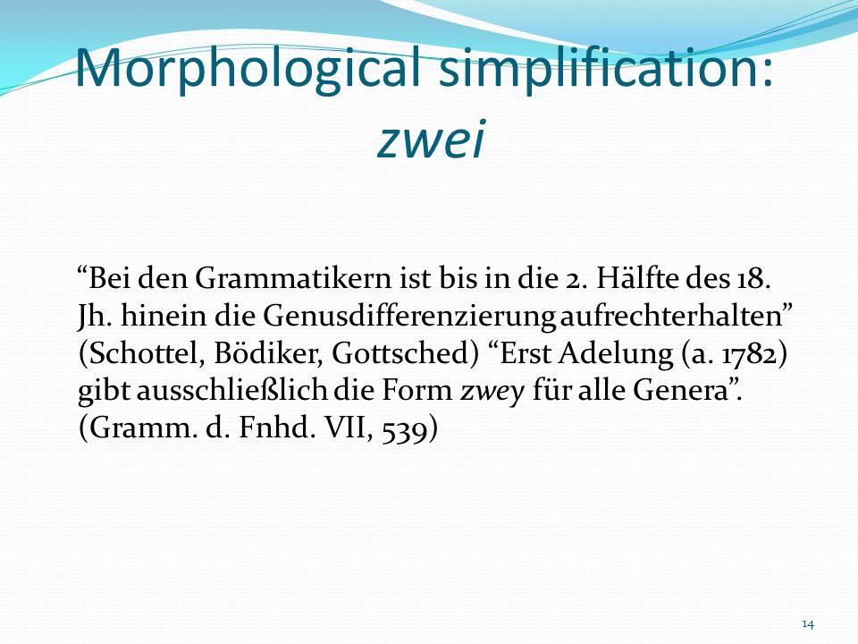 14 Morphological simplification: zwei Bei den Grammatikern ist bis in die 2.