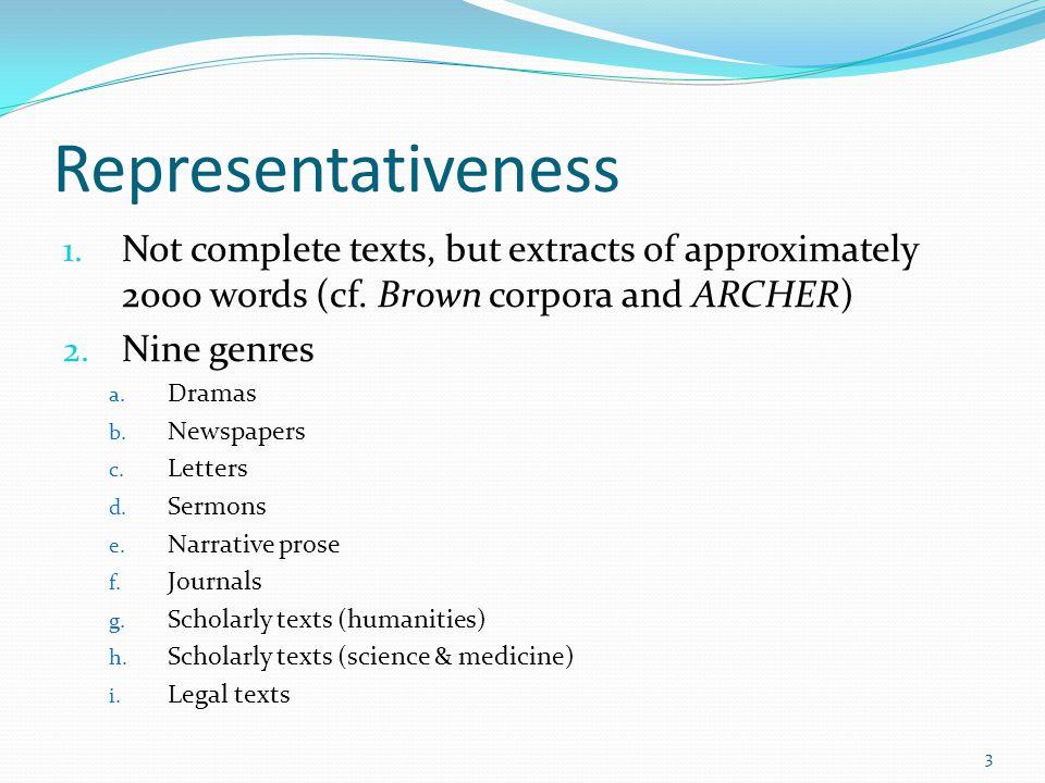 Representativeness 3.Periods (cf. Bonn corpus of ENHG) 1650-1700 1700-17501750-1800 4.