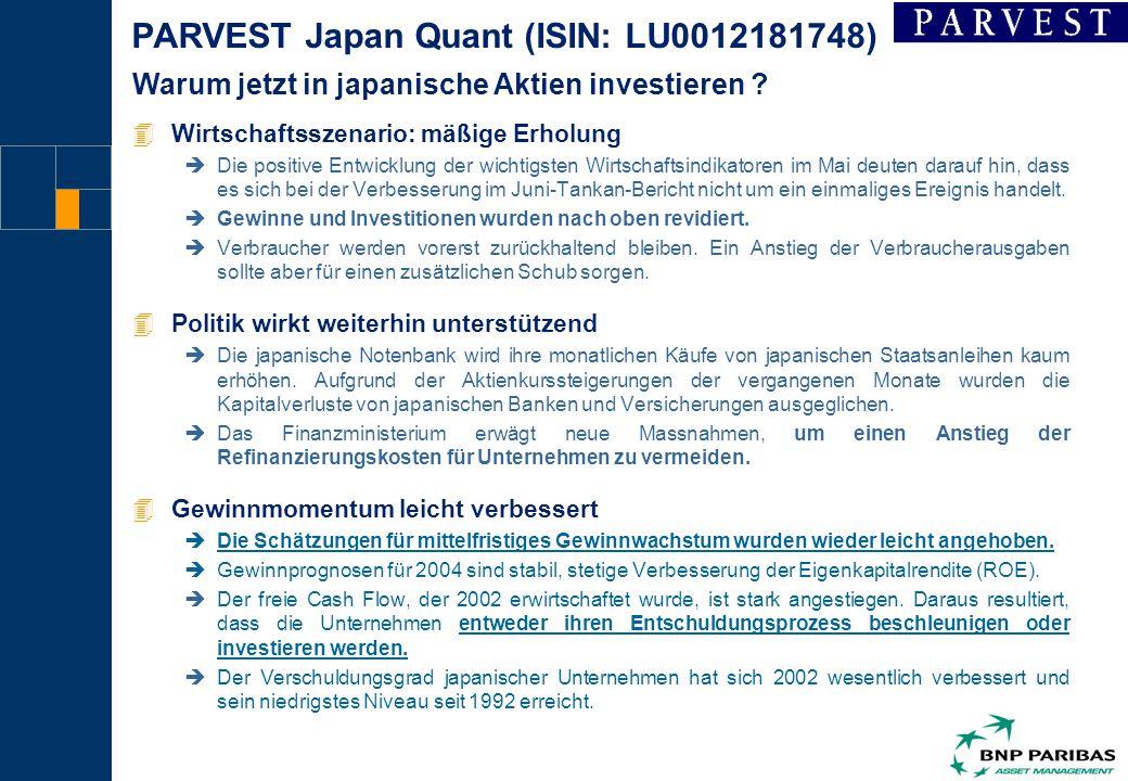 1 PARVEST Japan Quant (ISIN: LU0012181748) 4Wirtschaftsszenario: mäßige Erholung èDie positive Entwicklung der wichtigsten Wirtschaftsindikatoren im Mai deuten darauf hin, dass es sich bei der Verbesserung im Juni-Tankan-Bericht nicht um ein einmaliges Ereignis handelt.