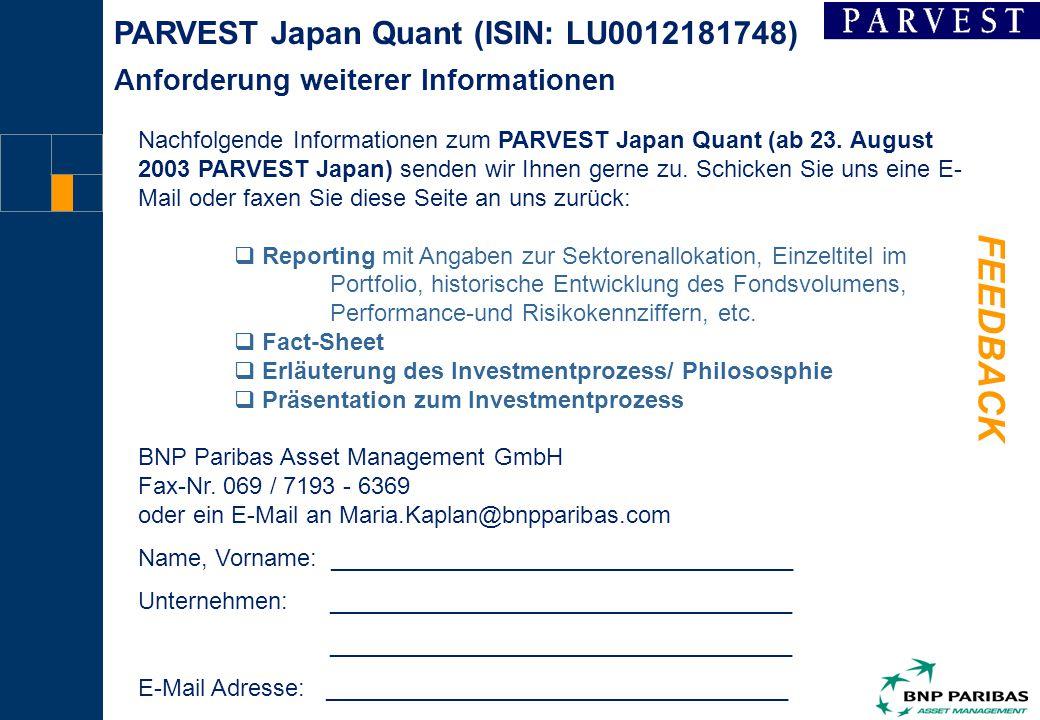 4 FEEDBACK Nachfolgende Informationen zum PARVEST Japan Quant (ab 23.