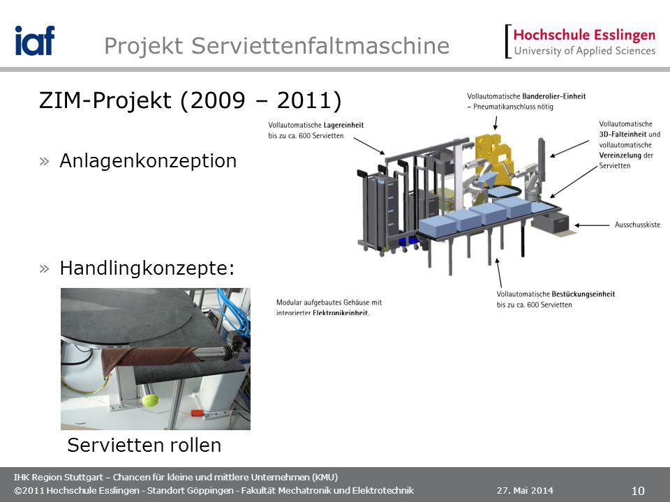 IHK Region Stuttgart – Chancen für kleine und mittlere Unternehmen (KMU) ZIM-Projekt (2009 – 2011) »Anlagenkonzeption »Handlingkonzepte: 27. Mai 2014©
