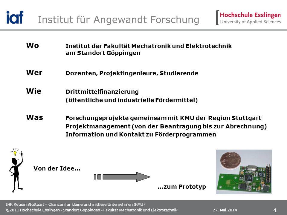 IHK Region Stuttgart – Chancen für kleine und mittlere Unternehmen (KMU) Institut für Angewandt Forschung 27. Mai 2014©2011 Hochschule Esslingen - Sta