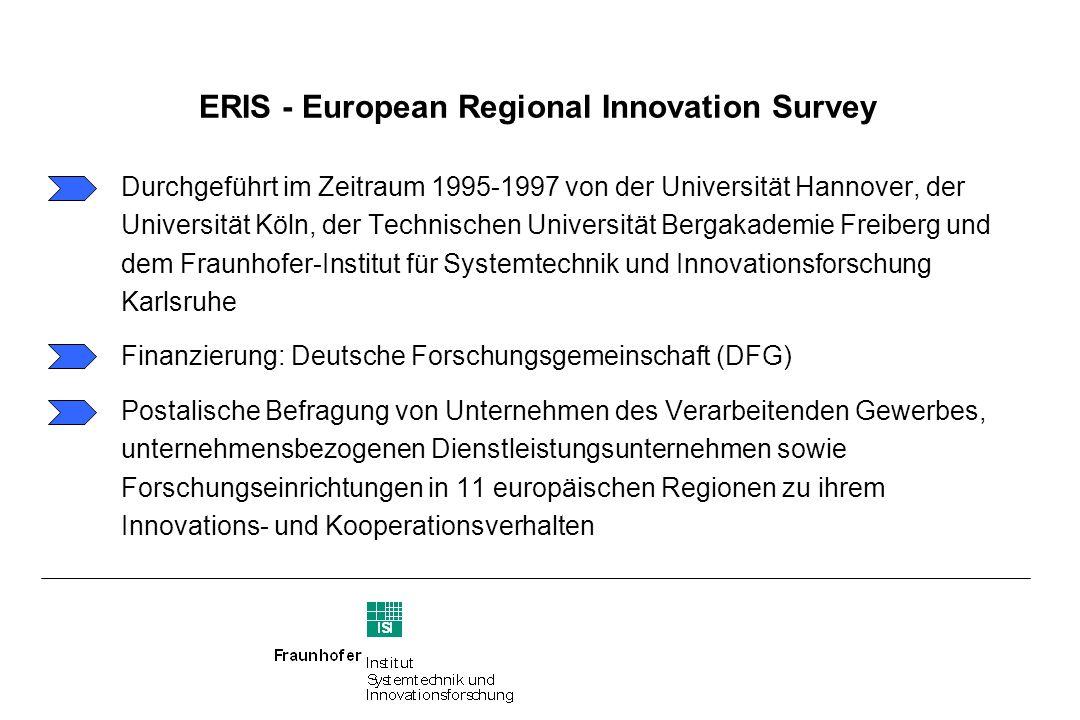 ERIS - European Regional Innovation Survey Untersuchungsregionen Software: MapInfo 4.1; Datenbasis: ERIS