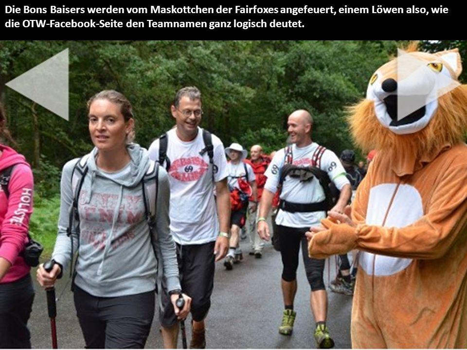 Die Bons Baisers werden vom Maskottchen der Fairfoxes angefeuert, einem Löwen also, wie die OTW-Facebook-Seite den Teamnamen ganz logisch deutet.