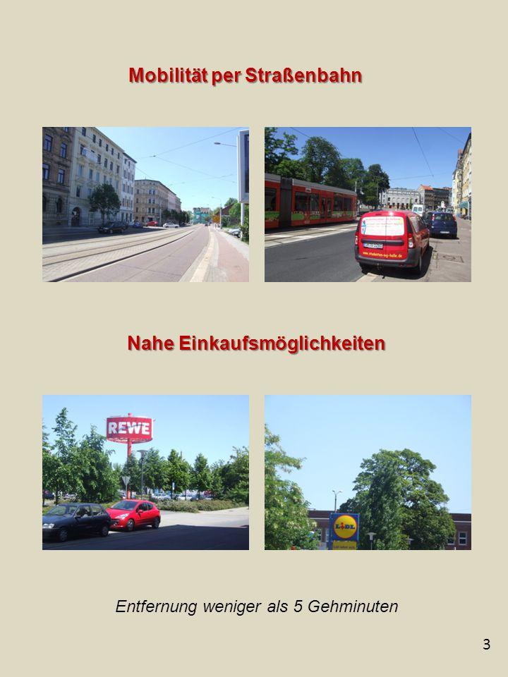 3 Mobilität per Straßenbahn Nahe Einkaufsmöglichkeiten Entfernung weniger als 5 Gehminuten