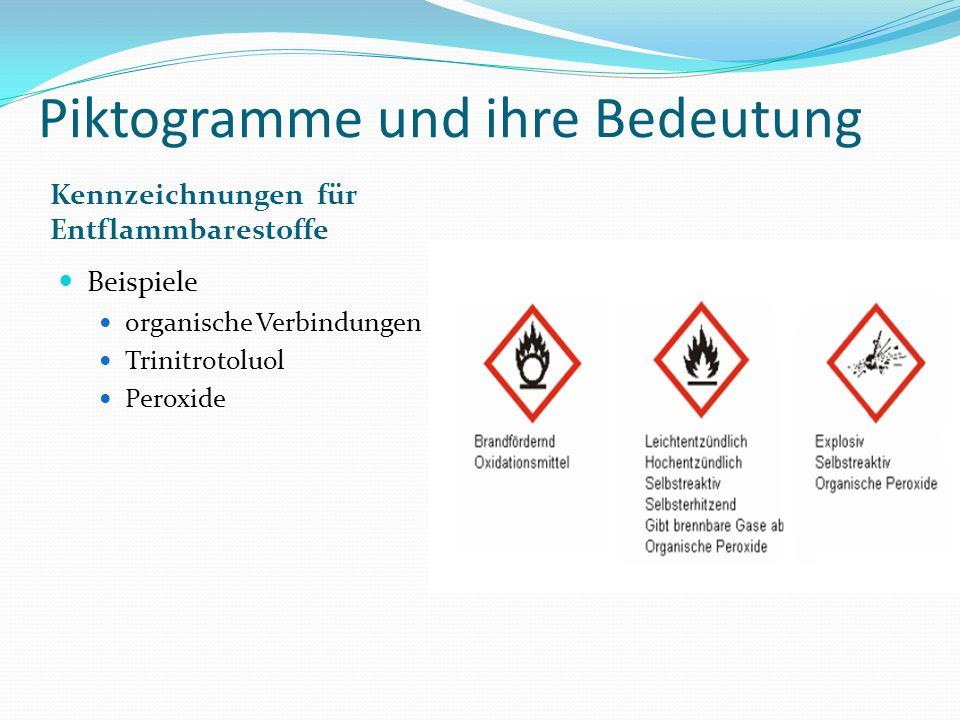Piktogramme und ihre Bedeutung Kennzeichnungen für Entflammbarestoffe Beispiele organische Verbindungen Trinitrotoluol Peroxide
