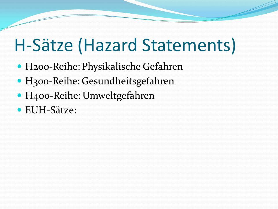 H-Sätze (Hazard Statements) H200-Reihe: Physikalische Gefahren H300-Reihe: Gesundheitsgefahren H400-Reihe: Umweltgefahren EUH-Sätze: