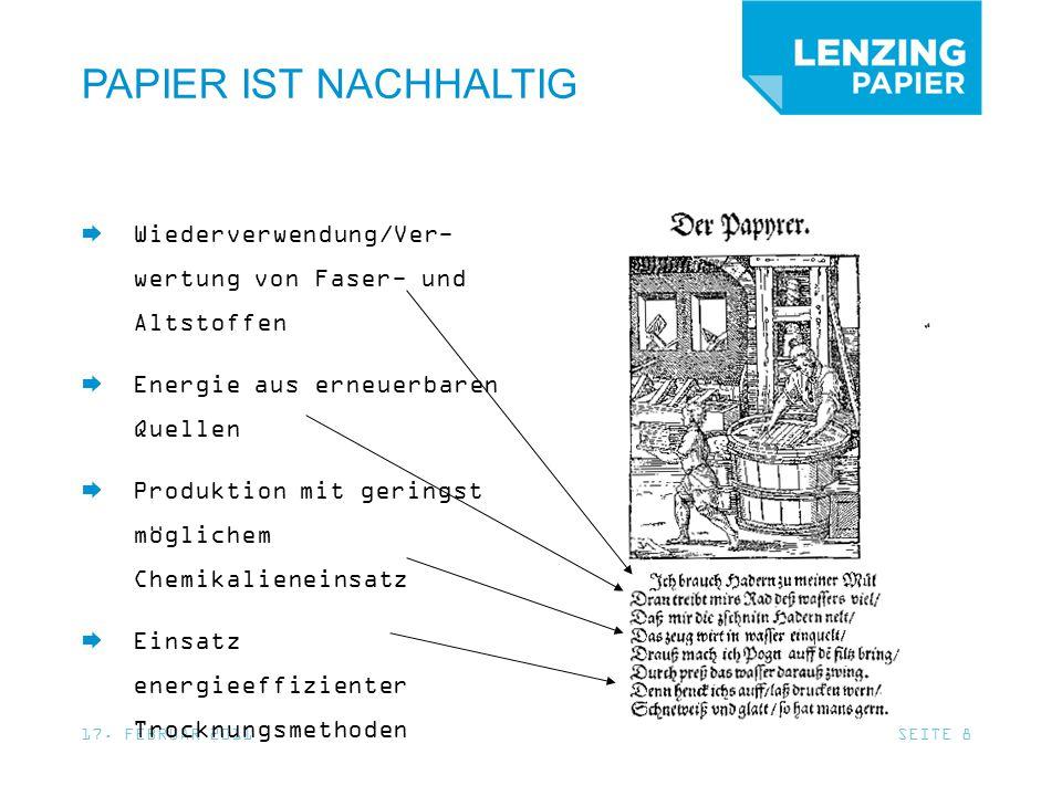 Ihr Partner für Nachhaltigkeit Your partner in sustainability LENZING PAPIER GMBH Werkstraße 2 4860 Lenzing - Austria Tel.: +43 (0)7672 701-3283 Fax: +43 (0)7672 701-2231 NACHHALTIG WIRTSCHAFTEN MACHEN SIE MIT!