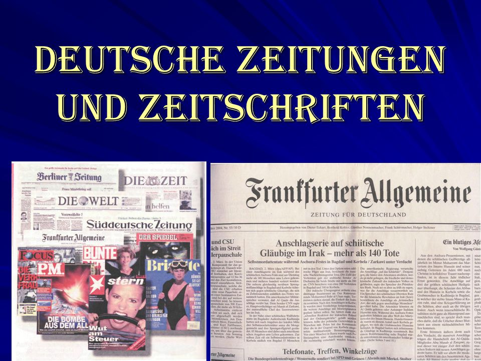 Die Medienlandschaft in Deutschland In Deutschland gibt es 370 Tageszeitungen mit 1580 lokalen und regionalen Ausgaben.