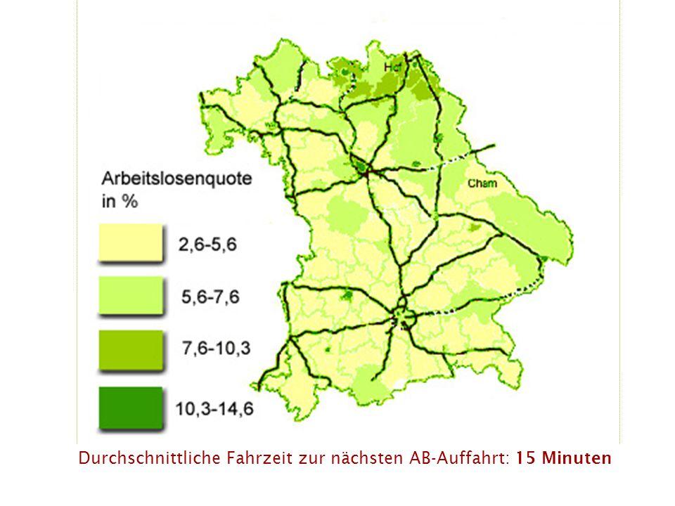 Durchschnittliche Fahrzeit zur nächsten AB-Auffahrt: 15 Minuten