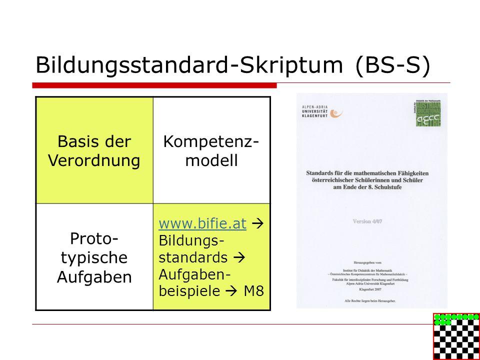 Bildungsstandard-Skriptum (BS-S) Basis der Verordnung Kompetenz- modell Proto- typische Aufgaben www.bifie.atwww.bifie.at Bildungs- standards Aufgaben- beispiele M8