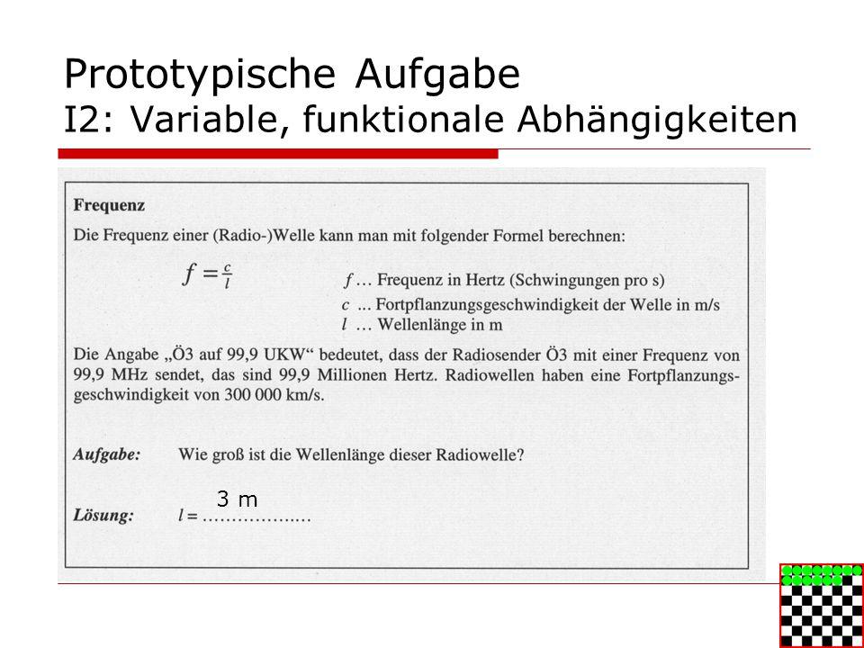 Prototypische Aufgabe I2: Variable, funktionale Abhängigkeiten 3 m
