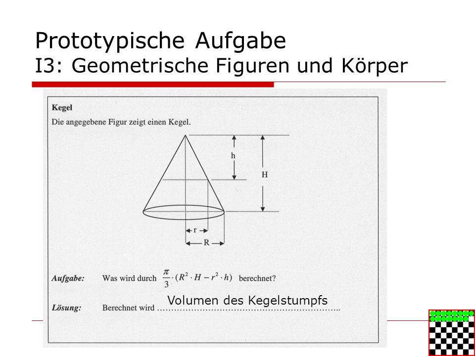 Prototypische Aufgabe I3: Geometrische Figuren und Körper Volumen des Kegelstumpfs