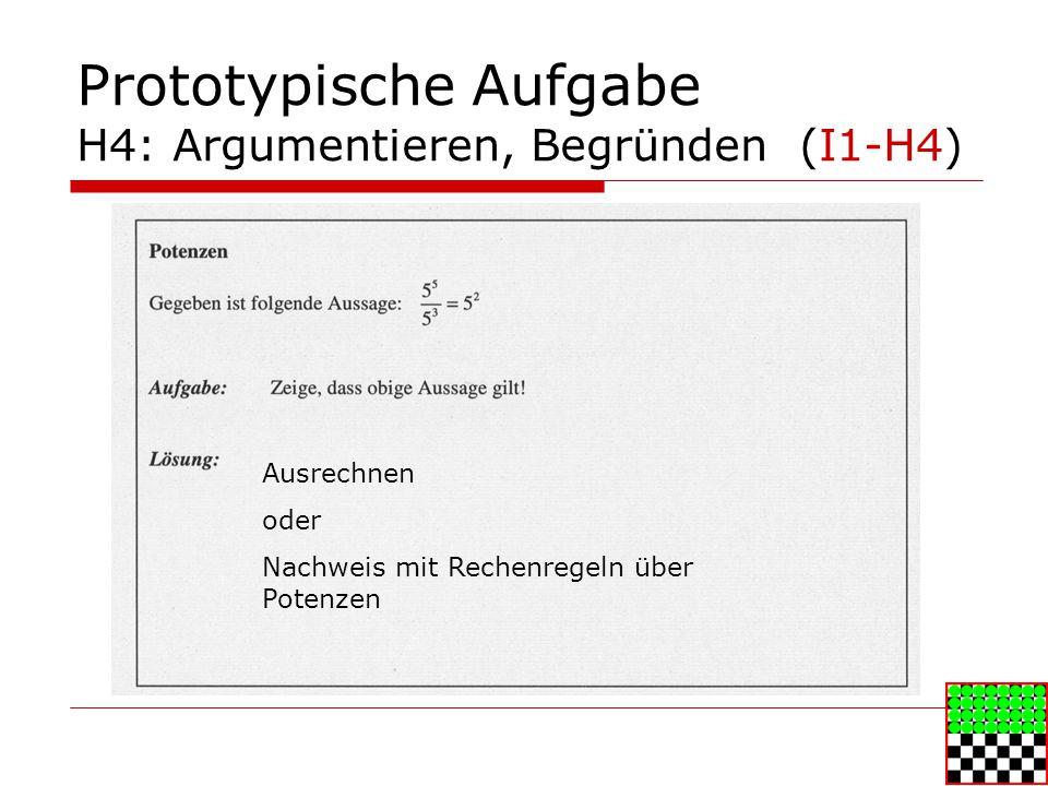 Prototypische Aufgabe H4: Argumentieren, Begründen (I1-H4) Ausrechnen oder Nachweis mit Rechenregeln über Potenzen