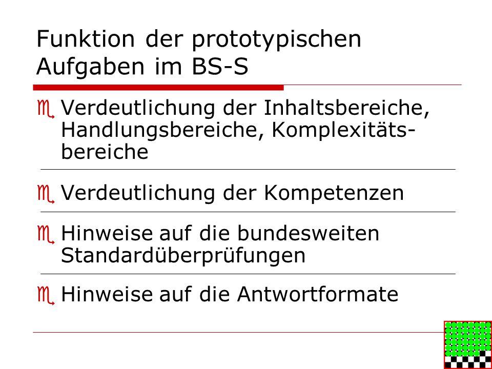 Funktion der prototypischen Aufgaben im BS-S Verdeutlichung der Inhaltsbereiche, Handlungsbereiche, Komplexitäts- bereiche Verdeutlichung der Kompetenzen Hinweise auf die bundesweiten Standardüberprüfungen Hinweise auf die Antwortformate