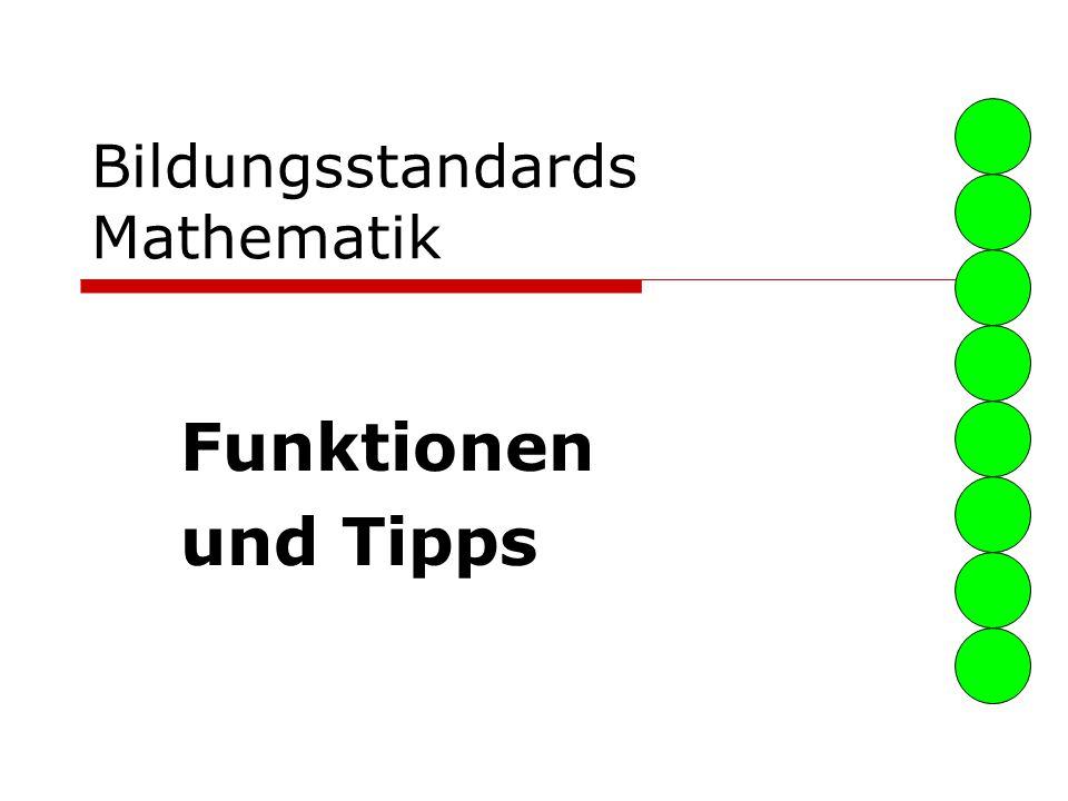 Bildungsstandards Mathematik Funktionen und Tipps