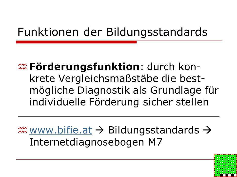 Funktionen der Bildungsstandards Förderungsfunktion: durch kon- krete Vergleichsmaßstäbe die best- mögliche Diagnostik als Grundlage für individuelle Förderung sicher stellen www.bifie.at Bildungsstandards Internetdiagnosebogen M7 www.bifie.at