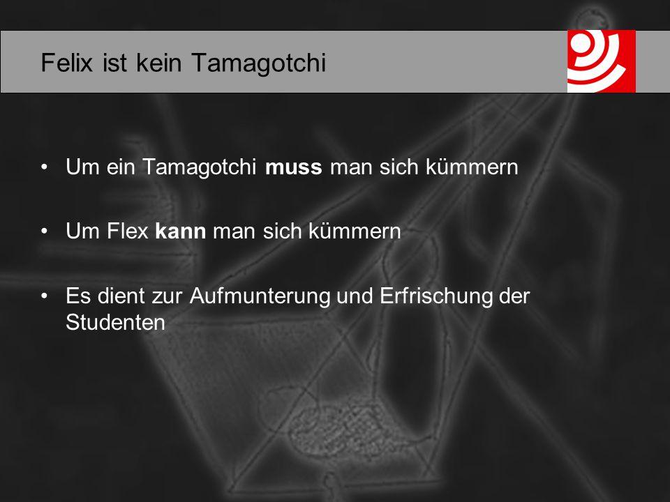 Felix ist kein Tamagotchi Um ein Tamagotchi muss man sich kümmern Um Flex kann man sich kümmern Es dient zur Aufmunterung und Erfrischung der Studenten