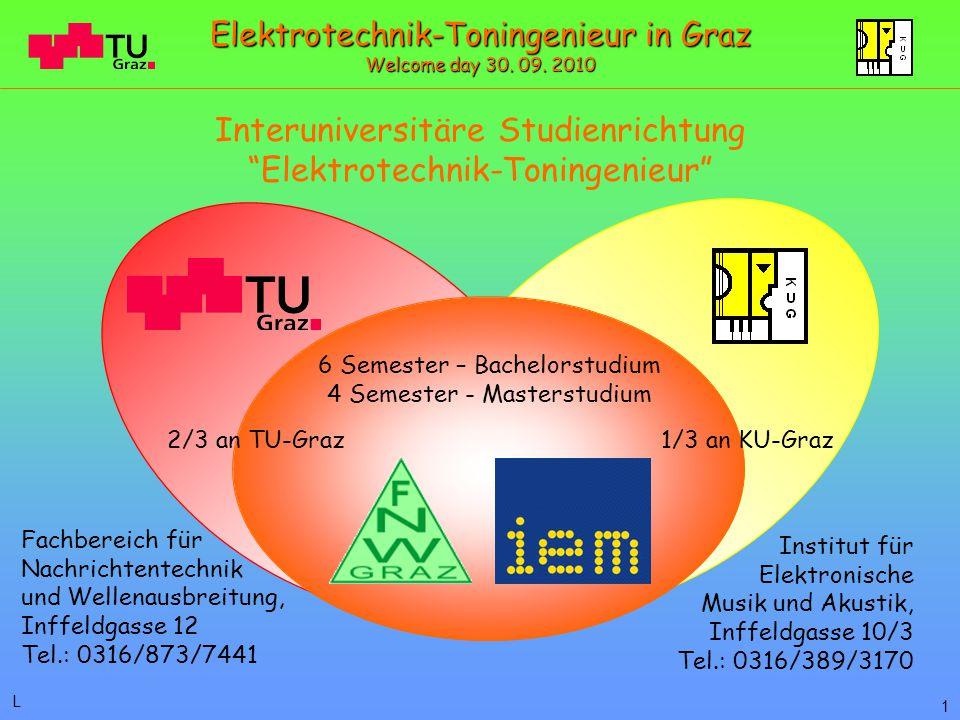 Institut für Elektronische Musik und Akustik, Inffeldgasse 10/3 Tel.: 0316/389/3170 Fachbereich für Nachrichtentechnik und Wellenausbreitung, Inffeldgasse 12 Tel.: 0316/873/7441 Interuniversitäre Studienrichtung Elektrotechnik-Toningenieur 2/3 an TU-Graz 6 Semester – Bachelorstudium 4 Semester - Masterstudium 1/3 an KU-Graz 1 L Elektrotechnik-Toningenieur in Graz Welcome day 30.