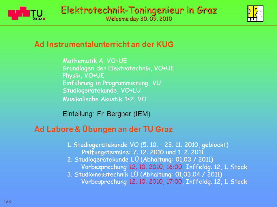Mathematik A, VO+UE Grundlagen der Elektrotechnik, VO+UE Physik, VO+UE Einführung in Programmierung, VU Studiogerätekunde, VO+LU Musikalische Akustik 1+2, VO Einteilung: Fr.