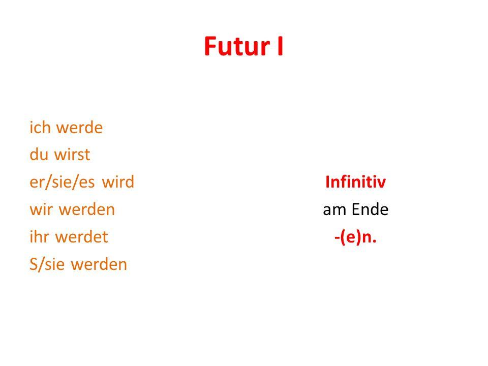 Futur I ich werde du wirst er/sie/es wird wir werden ihr werdet S/sie werden Infinitiv am Ende -(e)n.