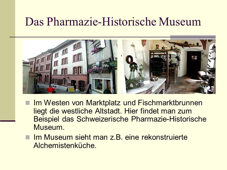 Das Pharmazie-Historische Museum Im Westen von Marktplatz und Fischmarktbrunnen liegt die westliche Altstadt. Hier findet man zum Beispiel das Schweiz