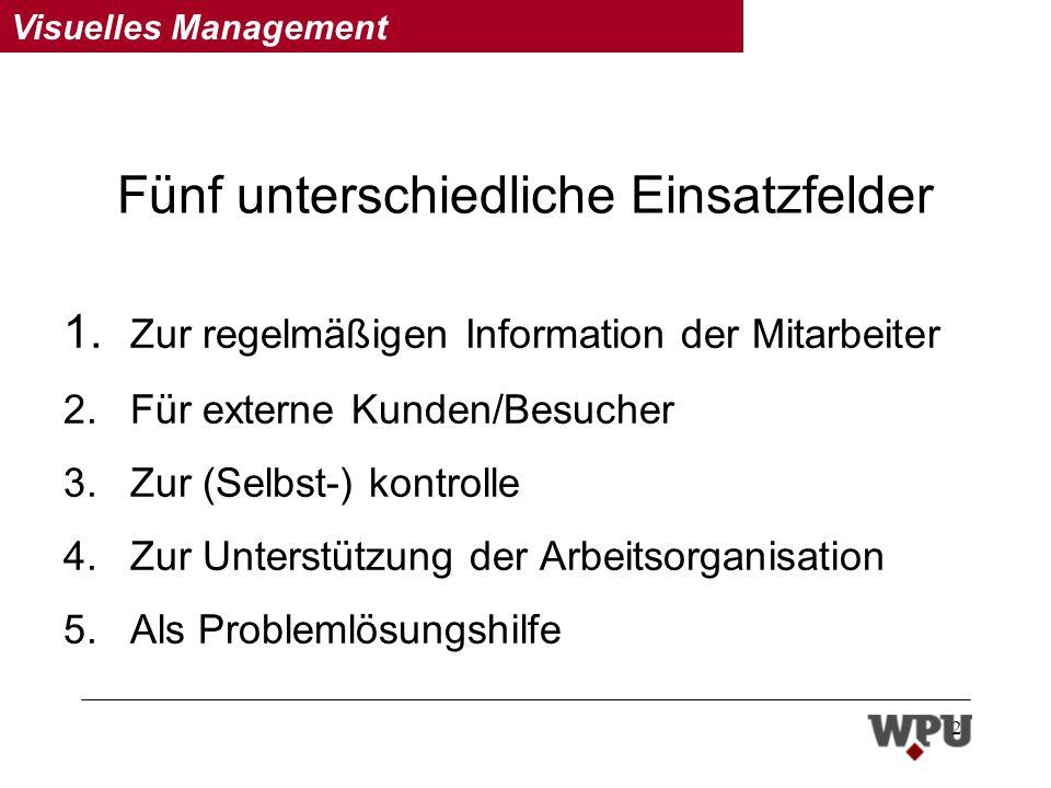Visuelles Management 2 Fünf unterschiedliche Einsatzfelder 1.