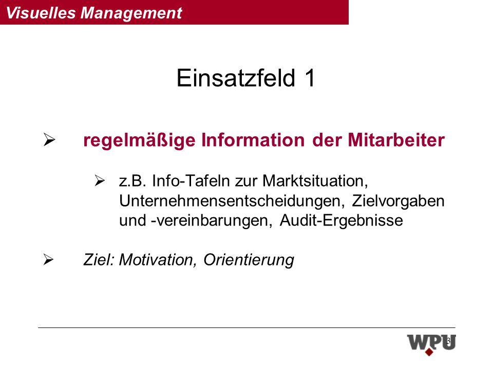 Visuelles Management 3 Einsatzfeld 1 regelmäßige Information der Mitarbeiter z.B.